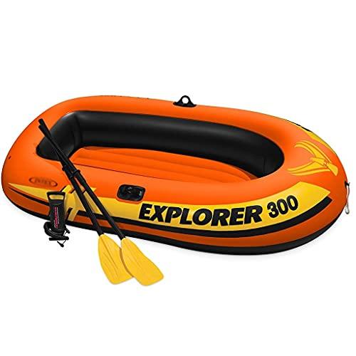 WBJLG Barco Inflable, Kayak de Pesca Inflable para 2/3 Personas, Barco de Buceo Inflable a la Deriva con 2 remos y Bomba Manual