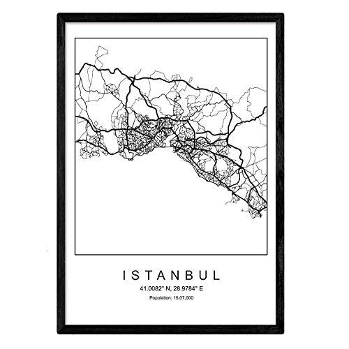 Nacnic Blade Istanbul Stadtplan nordischen Stil schwarz und weiß. A3 Größe Plakat Das Bedruckte Papier Keine 250 gr. Gemälde, Drucke und Poster für Wohnzimmer und Schlafzimmer