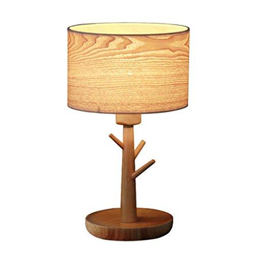 ZWL Wohnzimmer Schlafzimmer Nachttischlampe Retro Holzfurnier Tischlampe Nachttisch Lampe Tischlampe Fashion.z (Farbe : A)