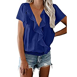 Arainlo Women's Ruffle V Neck Blouse Wrap Chiffon Short Sleeve Tunic Tops UK Size 6-22