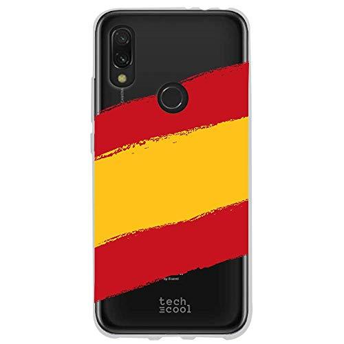 Funnytech® Funda Silicona para Xiaomi Redmi 7 [Gel Silicona Flexible, Diseño Exclusivo] Bandera España Transparente