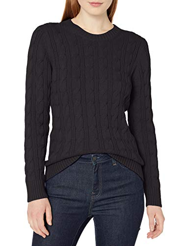 Amazon Essentials Long-Sleeve 100% Cotton Cable Crewneck Sweater Pullover-Sweaters, Schwarz, XL