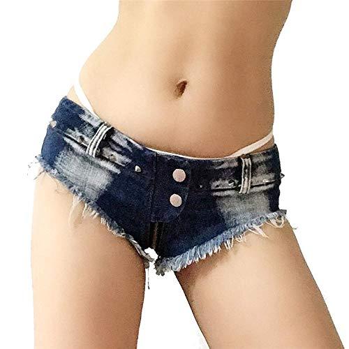 Summer Fashion Low Waist Club Short Jeans Mujeres Sexy Micro Mini Shorts Pole Dance Denim Shorts Ladies Beach Bar Cheeky Hotpants XL Navy Free Shippi