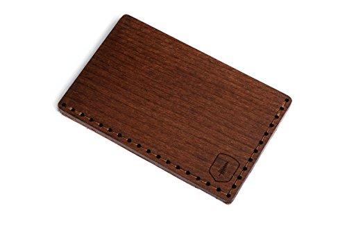 BeWooden Tarjetero de piel y madera Brunn Note – tarjetero de cuero para hombre – tarjetero para 25 tarjetas de visita y para 7 tarjetas de credito – tarjetero rigido y duro – tarjetero marrón