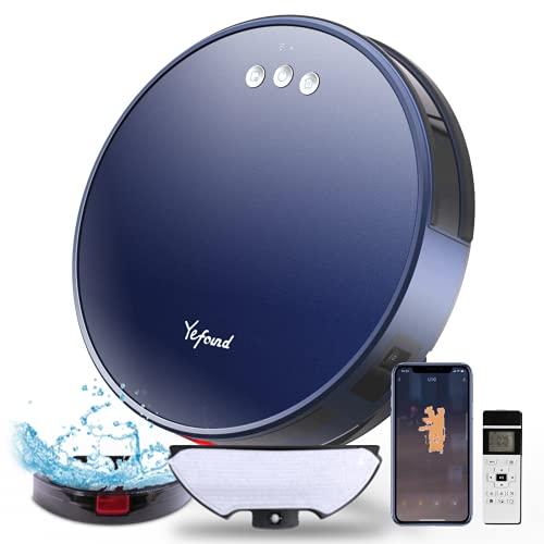 Robot Aspirapolvere Lavapavimenti, Yefound U20 3-in-1 Aspirapolvere Robot, 140Mins, 2200Pa,130ml Serbatoio Acqua, 55 dB, Mappatura in Tempo Reale Intelligente,Controllo Telecomando/App/Alexa (Blu)