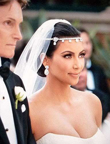 tggh Diadema de novia con cuentas para mujer, diadema de frente, cadena...