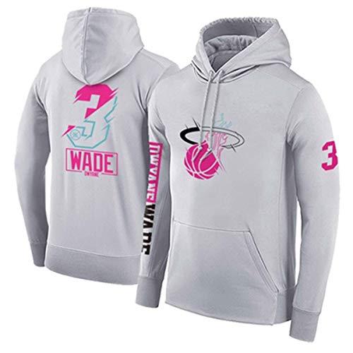 ZSPSHOP NBA - Sudadera con capucha para hombre, diseño de Miami Heat No.3 Weide con capucha engrosada, para baloncesto (color: gris A, tamaño: XXL)