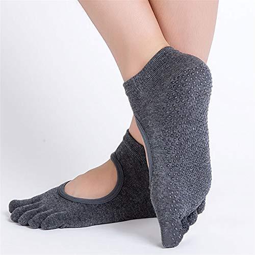 Mujeres calcetines de yoga antideslizante cinco dedos calcetines sin espalda silicona 5 pies calcetines ballet gimnasio aptitud deportes algodón calcetines (Color : Dark Gray)