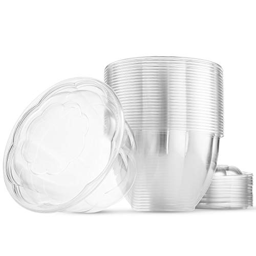 32 Ounce Clear Plastic Disposable Salad Containers with Lids in Bulk for a Fresh Airtight Seal, Portable Serving Bowl Set for Meal Prep & Preserve Freshness 32 Ounce 50 Pack by NYHI Direct