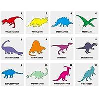 12ピース恐竜ステンシルプラスチック動物描画テンプレート再利用可能な中空アウト絵画カードDIYクラフト用カード作成5x5インチ13x13cm