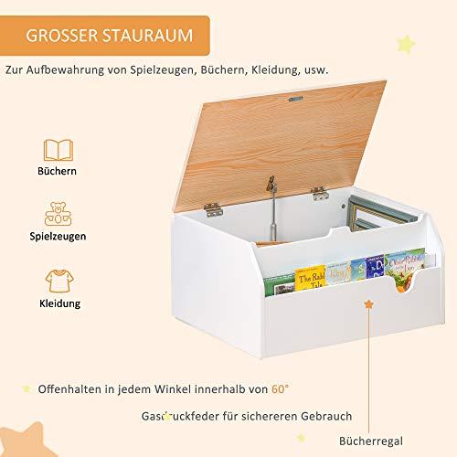 HOMCOM Kindersitzbank mit Stauraum 2-in-1 Truhenbank Spielzeugkiste Aufbewahrungstruhe 3-8 Jahre Kindermöbel Weiß 58 x 43 x 30 cm - 4
