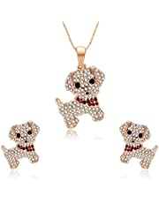 Fashion Cute animal dog puppy Toadstool red rhinestone Necklace Earrings Set Jewel for women girl