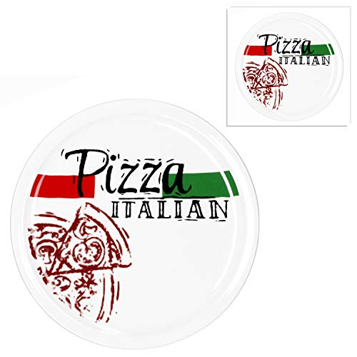 MamboCat 2-er Set Pizzateller Pizza Italian Ø 30cm große weiße Teller aus Steingut zum Anrichten für Pizza und Co oder als Steingutplatte zum Servieren von Wurst und Käse I Pizza Teller mit Motiv