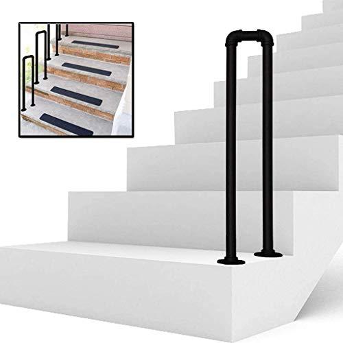 U-Shaped Handrail Brackets Stair Rail Wrought Iron Galvanized Pipe Step for Villa Indoor and Outdoor Aged Children's Loft Corridor Safety Support Bar, Hotel Garden (90cm/2.95ft)