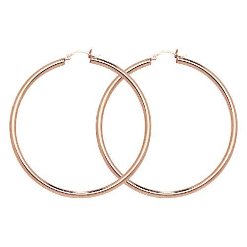 Aeon Kreolen-Ohrringe aus Sterlingsilber, rosévergoldet, hypoallergen, für Damen, eleganter Stil, langlebiges...