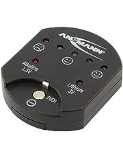 Ansmann Knoopceltester/betrouwbare tester voor het weergeven van de capaciteit d.m.v. LEd's/capaciteitscontrole voor alkaline- en lithiumknoopcellen, Zwart