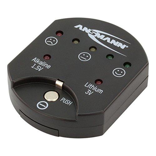 ANSMANN Knopfzellentester / Zuverlässiges Testgerät zum Anzeigen der Kapazität über LEDs / Kapazitätsanzeige für Alkaline & Lithium Knopfzellen