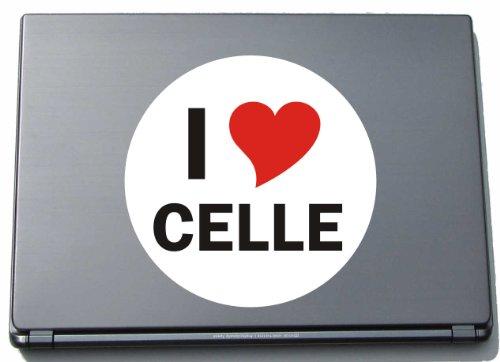 Indigos I Love Aufkleber Decal Sticker Laptopaufkleber Laptopskin 210 mm mit Stadtname CELLE