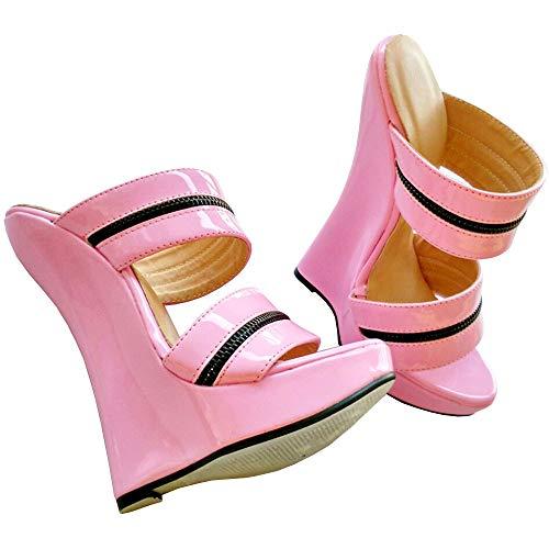TIKENBST High Heels Fetisch Heels Frauen Sexy High Wedge Heels Leder Plattform Knöchelriemen Sandalen Sommermode,Pink-41