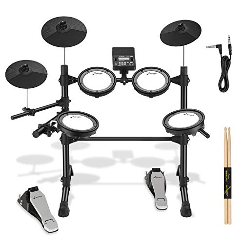 Donner DED-100 Electric Drum Kit with Drum Throne, Sticks, Headphone And Audio Cable, More Stable Iron Metal Support, Deluxe Mesh Kit