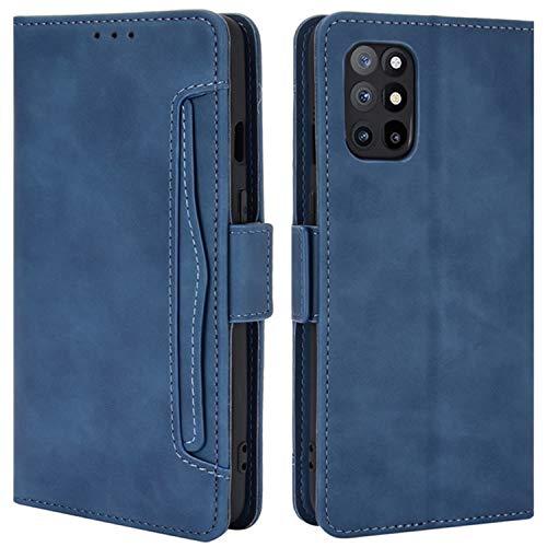 HualuBro Handyhülle für OnePlus 8T Hülle Leder, Flip Hülle Cover Stoßfest Klapphülle Handytasche Schutzhülle für OnePlus 8T Tasche (Blau)