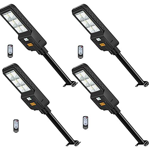 4 Pezzi 300W Lampione Solare LED Esterno con Pannello Solare,Lampione Solare 6500K Bianco Freddo,Lampione LED con Sensore di Movimento Radar, 3.2 V-22000mAh,396LEDs,Telecomando, IP65 Impermeabile