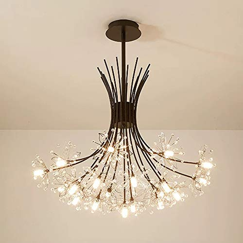 Lámpara colgante de metal, lámpara colgante moderna de cristal creativa, para salón, comedor, dormitorio, G4, negro, 19
