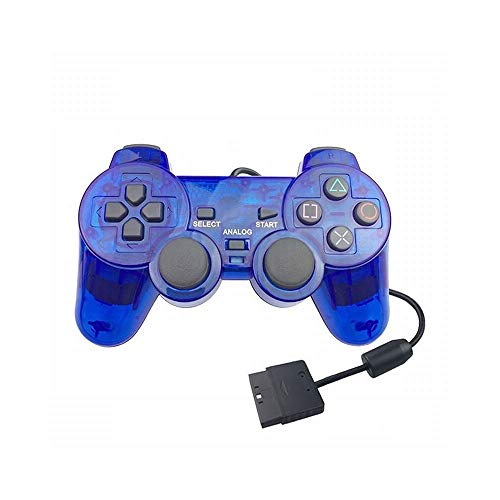 ZZYJYALG Gamepad Plastic Supports con cable Gamepad Controlador Consola Joystick Double Vibration Shock Joypad Wired Control Switch Host Android Game Game Handle Mobile TV Caja Computadoras PS2 (Negro