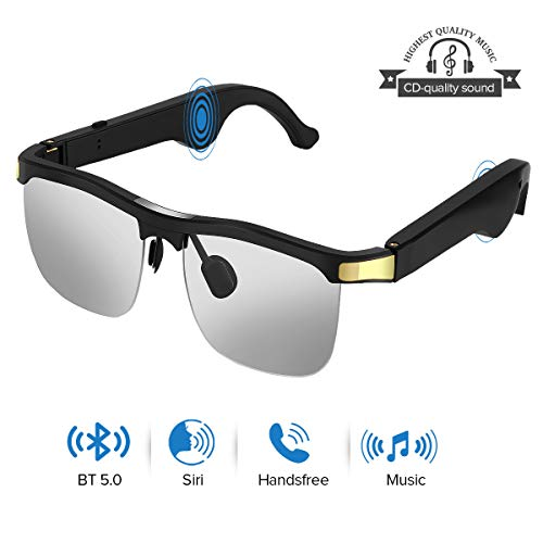Elikliv Wireless Audio Sunglasses, Open Ear Smart Glasses with Blue Tooth 5.1, Listen Music, Hands-Free Calls, Voice Assistant, Blue Light Blocking Lenses, Compatible with iOS Android Devices