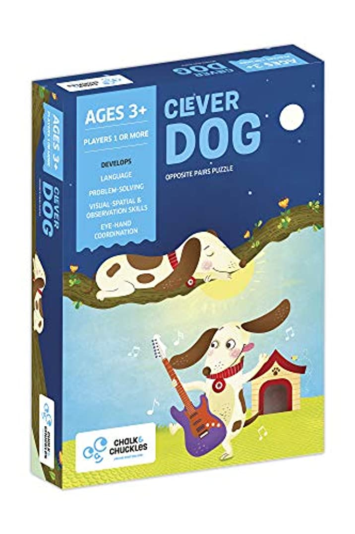 Chalk and Chuckles Clever Dog, Preschooler Self Correcting Matching Opposites Puzzle