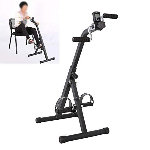 Pedal Doble de Bicicleta Plegable para Brazos y piernas con Pantalla LCD en el hogar Pedalier de Ejercicio con Resistencia Ajustable Conjunto Antideslizante,L
