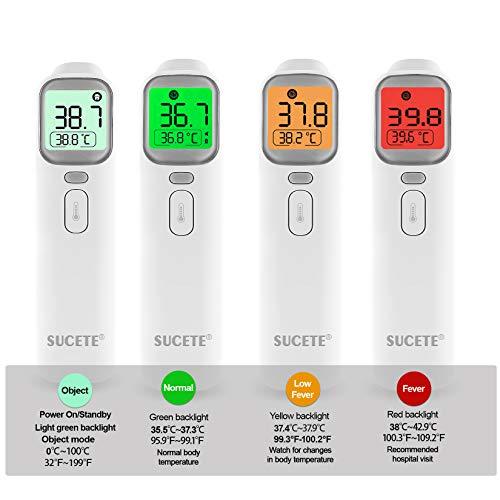 Termometro febbre infrarossi SUCETE 4 in 1 Termometro digitale infrarossi Termometro frontale Auricolare febbre per Adulti, Neonati, Bambini