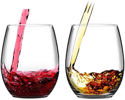 LighSele Set von 2 Stiellosen Weingläsern 425 ml Trinkglas Weingläser für Rot- und Weißwein, Saft für Geburtstag, Strand, Hochzeit, Heimparty