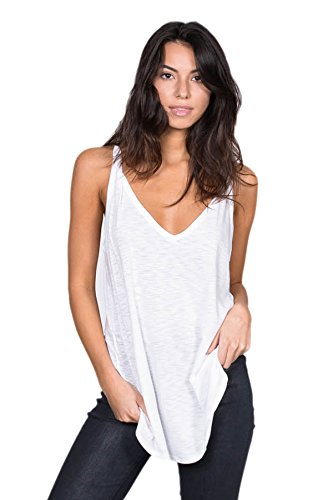 Alexander + David Womens V-Neck Cotton Slub Prewash Loose Long Fit Tank Top Tunic (White, Medium)