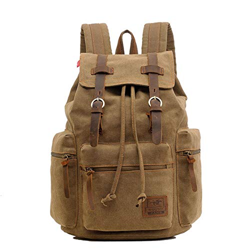 SYLL Unisex 15 inch Canvas Vintage Backpack Leather Trim Casual Bookbag Men Women Laptop Travel Rucksack,Brown