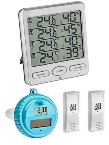 TFA Dostmann Klima Monitor Plus TFA 30.3054.plus Station thermomètre-hygromètre sans fil avec émetteur flottant silber 30.3054.54