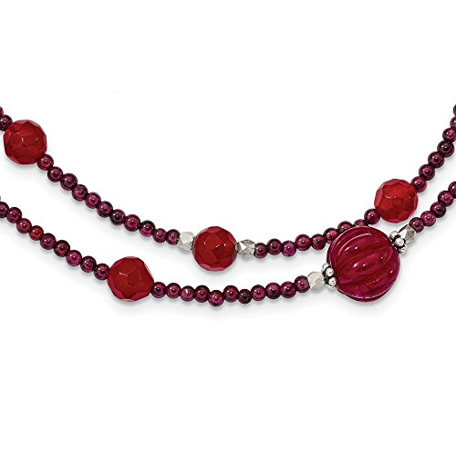 925 Sterling Silver Red Avent./garnet/red Jade/red Quartz 2 Strand Inch Extension Chain Necklace Pendant Charm Natural Stone Fine Jewelry For Women Gifts For Her