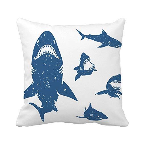 Throw Pillow Cover Blue Mouth of Big Sharks Bite Silhouette Gran Funda de Almohada Blanca Funda de Almohada Cuadrada Decorativa para el hogar Funda de cojín