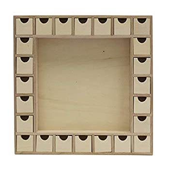 13 Inch Christmas Advent Calendar Shadow Box - Pre Assembled with Removable Drawers - Unfinished Wood Ready to Decorate and Personalize - for DIY Gifts & Crafts