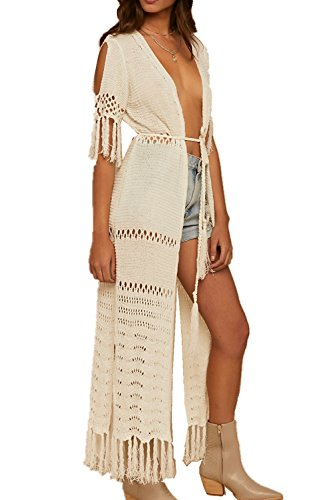 AiJump Vestido de Playa Crochet Kaftan Kimonos Pareos Verano para Mujer