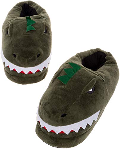 Silver Lilly LED Light Up Dinosaur Slippers - Novelty T-Rex Animal House Shoes w/Comfort Foam (M) Green