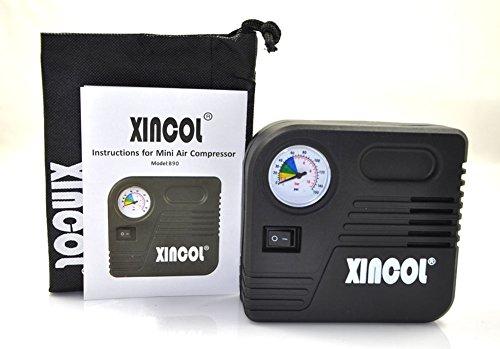 XINCOL, compressore d'aria elettrico di emergenza, portatile, per le emergenze, da 12V, per gonfiare palloni, cuscini d'aria e tutti gli pneumatici di auto e moto.