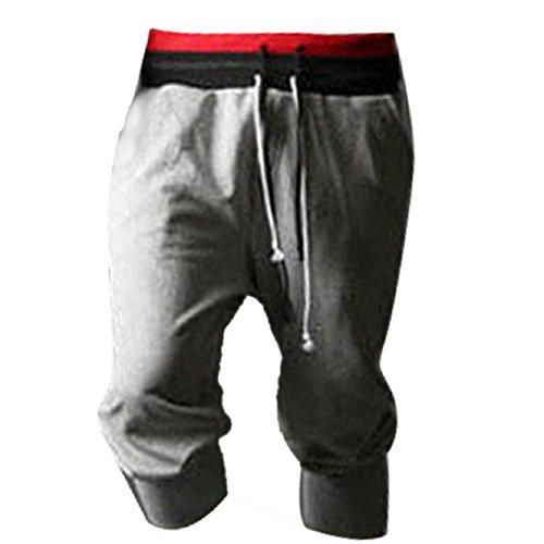 Malloom® 1pc Pantalon De Survêtement Hommes Sport Short Harem Danse Ample Pantalon De Jogging De Formation (L, Gris)