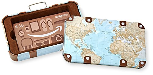 Amazon.de Geschenkkarte in Geschenkbox - 50 EUR (Reisekoffer)