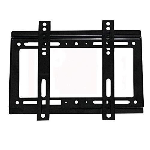 Soporte de pared para TV pequeño de acero inoxidable para la mayoría de televisores de 14 a 43 pulgadas, soporte de pared para TV con estante de hasta 25 kg de altura inclinable ajustable, VESA máximo
