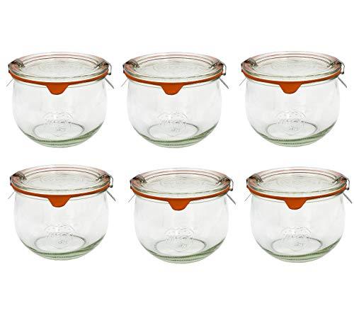 Veroline Weck-Glas/Einmachglas (original Weck) mit Gummi & Klammer (6, 580 ml)