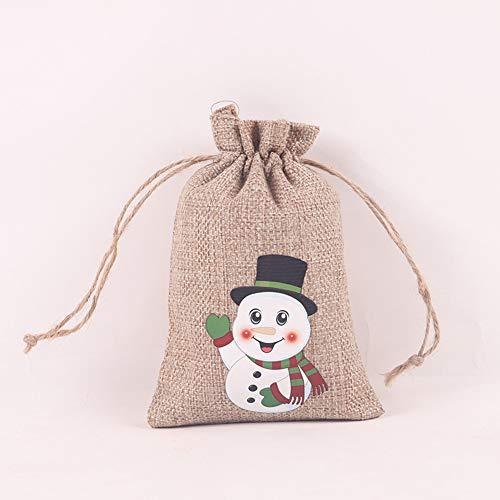 Pineocus Weihnachten neue Kordelzug Leinentasche Kreative Kordelzug Tasche Weihnachtsmuster Schokolade Süßigkeiten Verpackungsbeutel Mini Leichte Geschenktüten