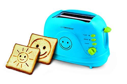 Toaster SMILEY Blau | Er backt zwei Zeichnungen | Automatik-Toaster | Wiederaufwärmen | Brötchenaufsatz | Doppelteschlitzen und Krümelschublade