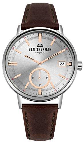 Ben Sherman Herren Datum klassisch Quarz Uhr mit Leder Armband WB071SBR