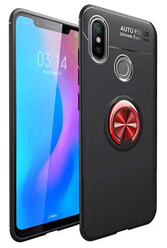 Capa Honor 8X Max, YINCANG [suporte de anel de metal] TPU de silicone macio [compatível com placa de metal de sucção magnética criativa] Capa com suporte para Huawei Honor 8X Max 7,2 polegadas preto + vermelho